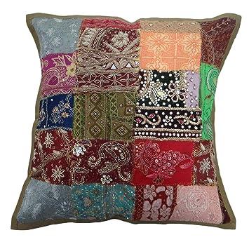 Amazon.com: Beaded Pillow Sofa Cushion Covers Multicolour ...