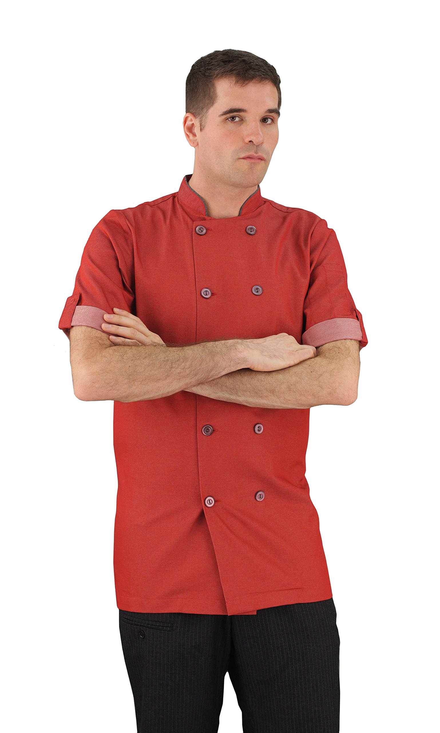 ASD Living Moisture Wicking Short Sleeve Chef Coat, XX-Large, Brick Red by ASD Living