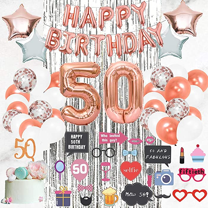 50th Birthday Decorations Supplies by Serene Selection, Happy Birthday Banner for her, Big 50 Foil Balloons for Women, Rose Gold Balloons, Photo Props Cake Topper Fifty Bday Decor, Party Decoration