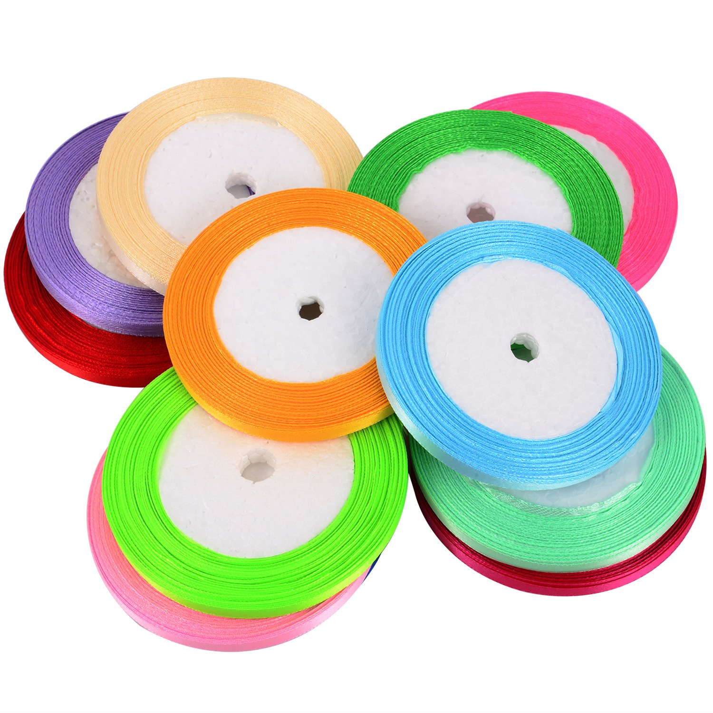 12 Farben 300 Yards 6 mm Doppelseitige Stoffband Silk Satin Roll