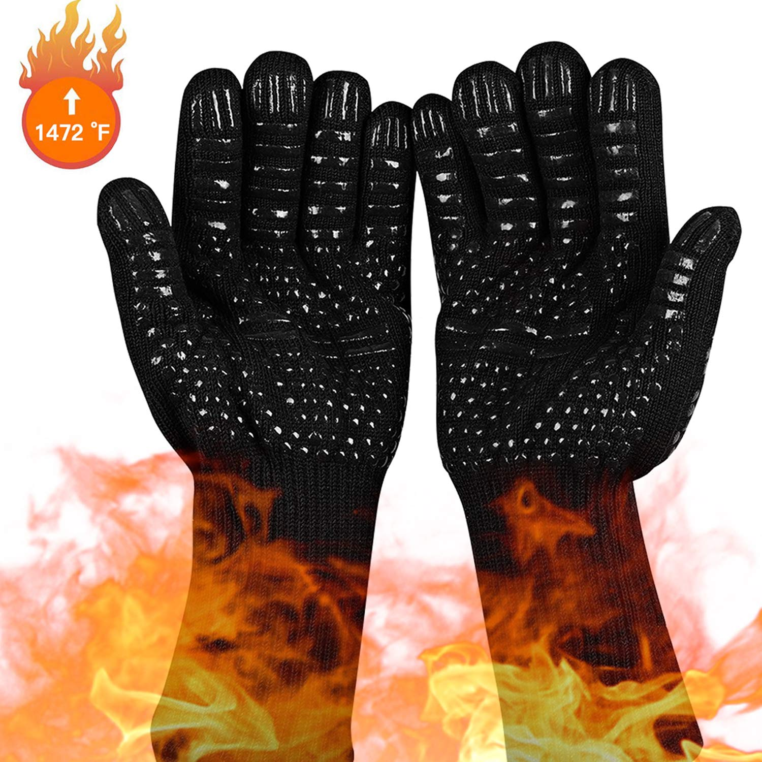 HULIONS BBQ Gloves 1472℉ Extreme Heat Resistant Grill Gloves Premium Insulated Oven Mitts with L5 Cut Resistant for Cooking, Baking,Cutting, Welding, Smoker Fireplace(1 Pair) by HULIONS