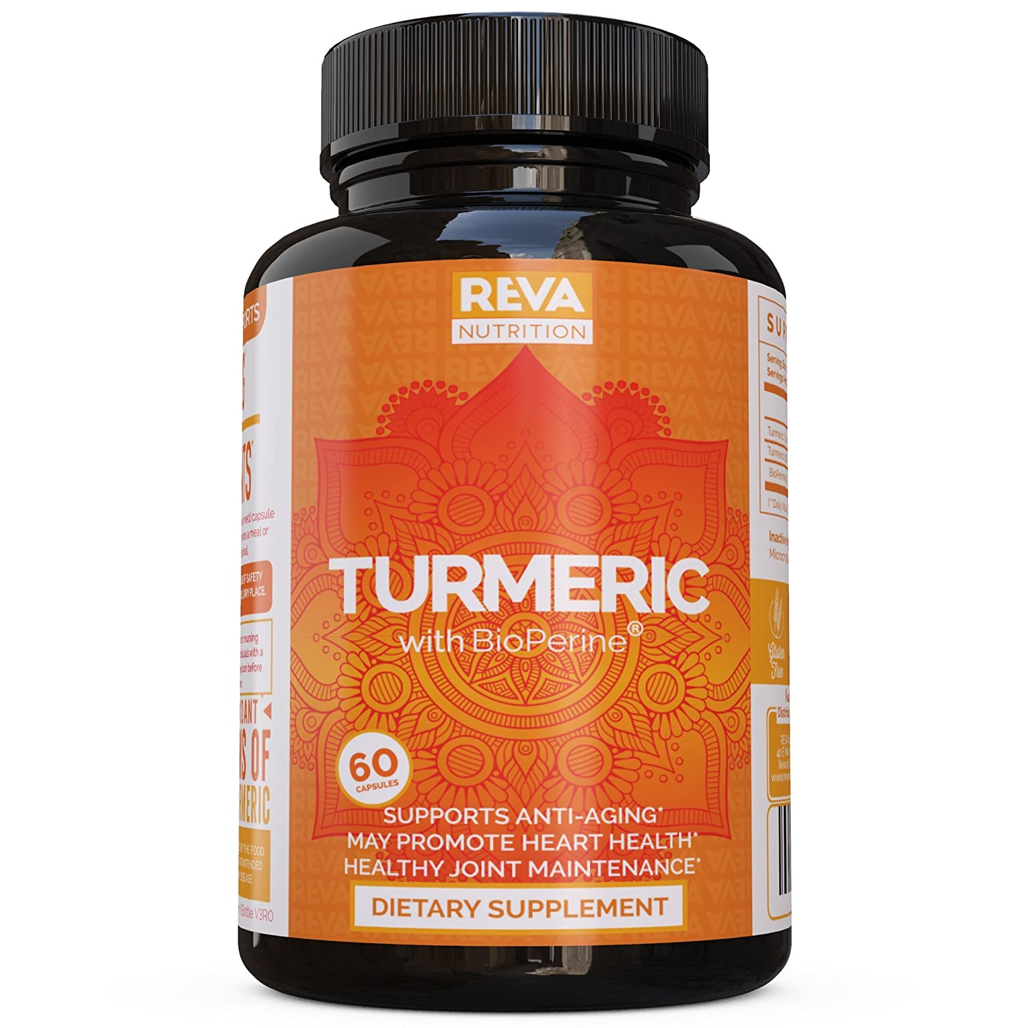 Premium Turmeric Curcumin 95 with Bioperine – Healthy Joint Pain Relief – Black Pepper for Absorbtion, Full Antioxidant, All Natural Non-GMO Formula