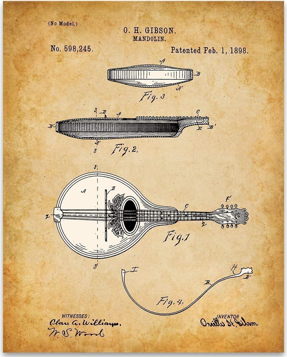マンドリン - 11x14 Unframed Patent Print - ミュージシャンのための偉大な音楽室の装飾またはギフト B07B2JZ3TN