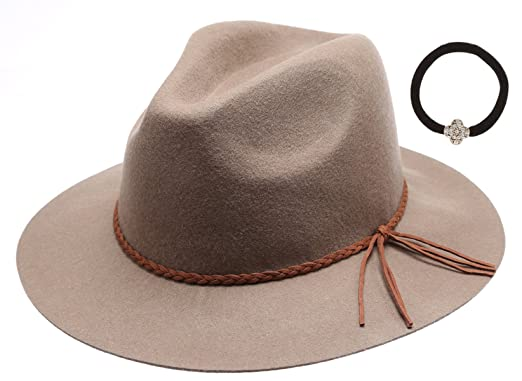 4d2e2bf89b5 Women s 100% Wool Felt Cloche Short Brim Floppy Fedora Hat with Scrunchy -  Brown -