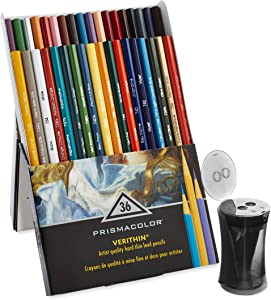 Prismacolor Premier Verithin Colored Pencils, 36 Pack with Pencil Sharpener