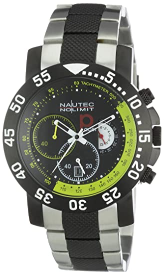 Nautec No Limit P-Racer - Reloj cronógrafo de caballero de cuarzo con correa de acero inoxidable multicolor (cronómetro) - sumergible a 100 metros: ...