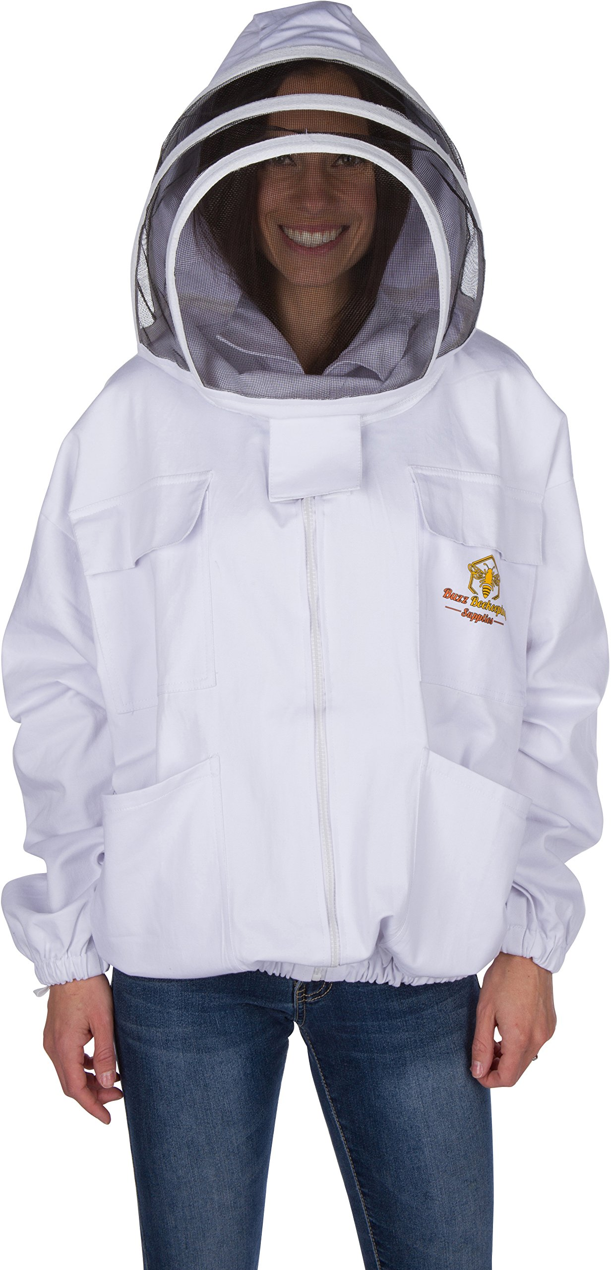 Professional Beekeeping Suit Jacket -for Men and Women (Medium) - Total Protection - Self-Supporting Fencing Veil for Beekeepers - Easily Take On & Off - 6 Pockets - Good for Beginners as well (White)