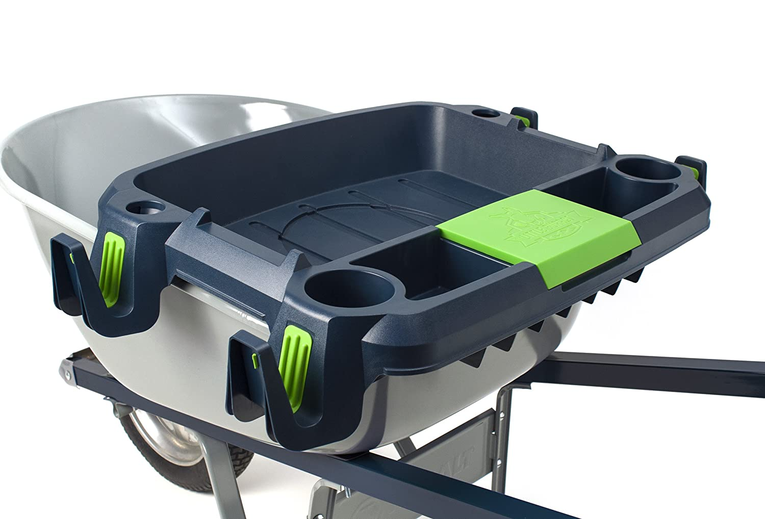 Original Little Burro, USA made lawn garden tray for all 4-6 cu. ft. wheelbarrows. Holds rake, shovel, short handle tools, drinks water tight storage for phone. Wheelbarrow not included. Great gift