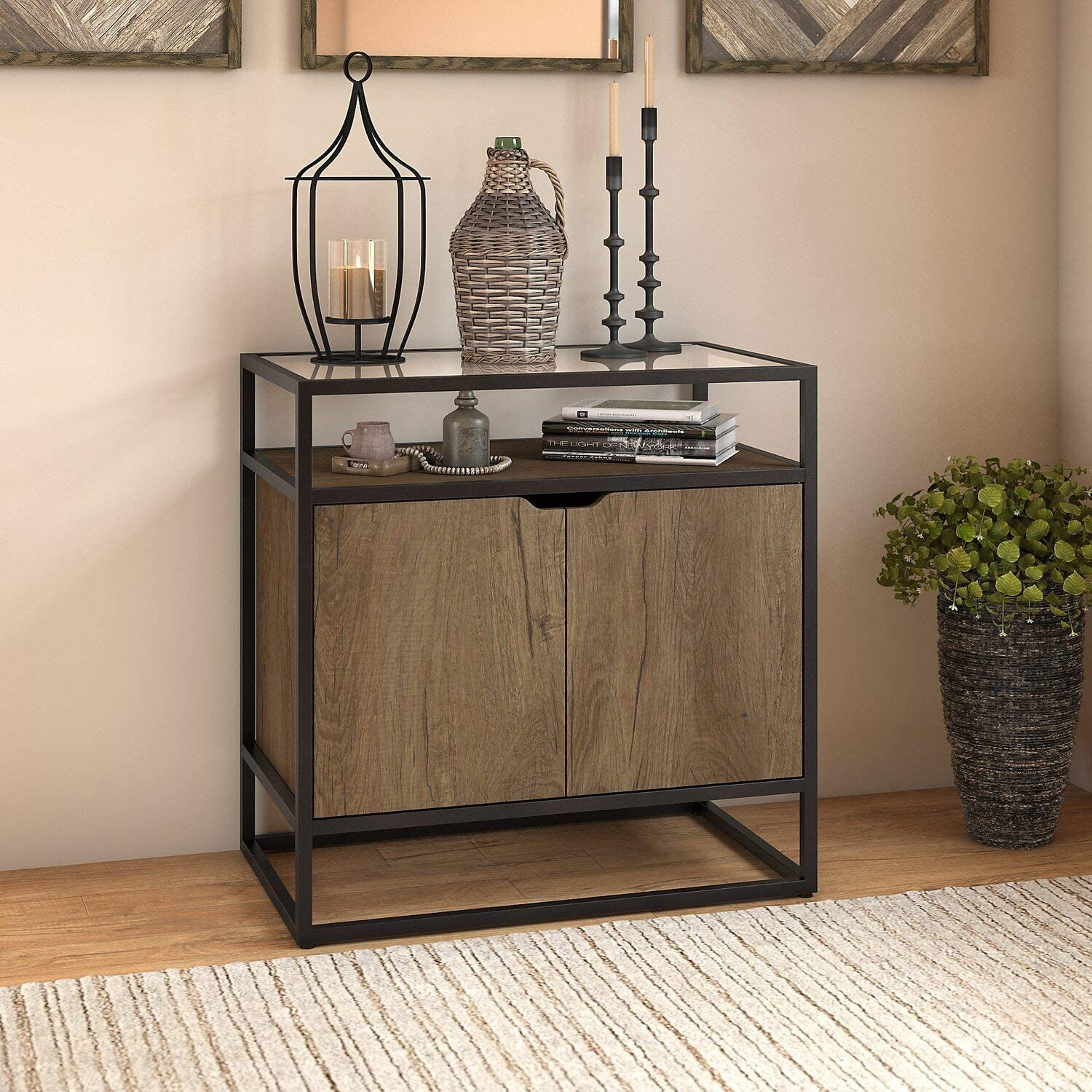 Bush Furniture Anthropology Small Storage Cabinet with Doors in Rustic Brown Embossed