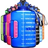 SLUXKE 1 Gallon Water Bottle with Time Marker and Straw, BPA Free 128oz Leak Proof Motivational Large Water Bottle Jug with H