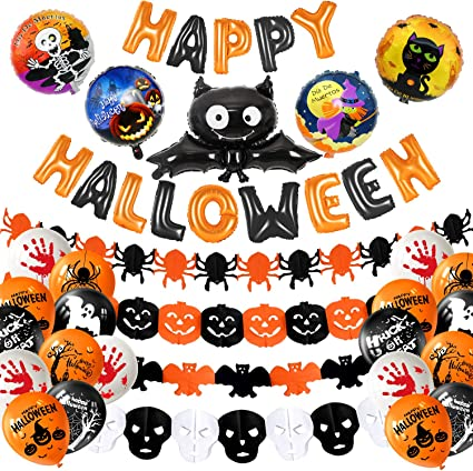MIAHART Halloween Party Decoration Set Happy Halloween Banner with 4 Pcs Spider Pumpkin Ghost Foil Balloon 4 Pack Halloween Garland and 18 pcs Latex Balloon for Halloween Bar Home Decor Supplies Bat