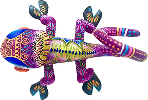 Alkimia Inc Mexican Alebrije Chameleon Wood Carving Handcrafted Sculpture Purple