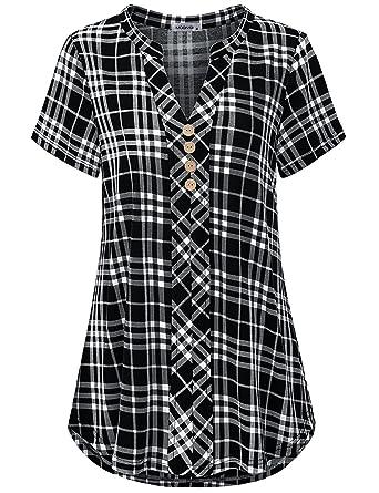 8bcf9070d0018a MOQIVGI Henley Shirts for Women,Ladies Short Sleeve Blouse Tops Trendy  Loose Curved Hem Flattering