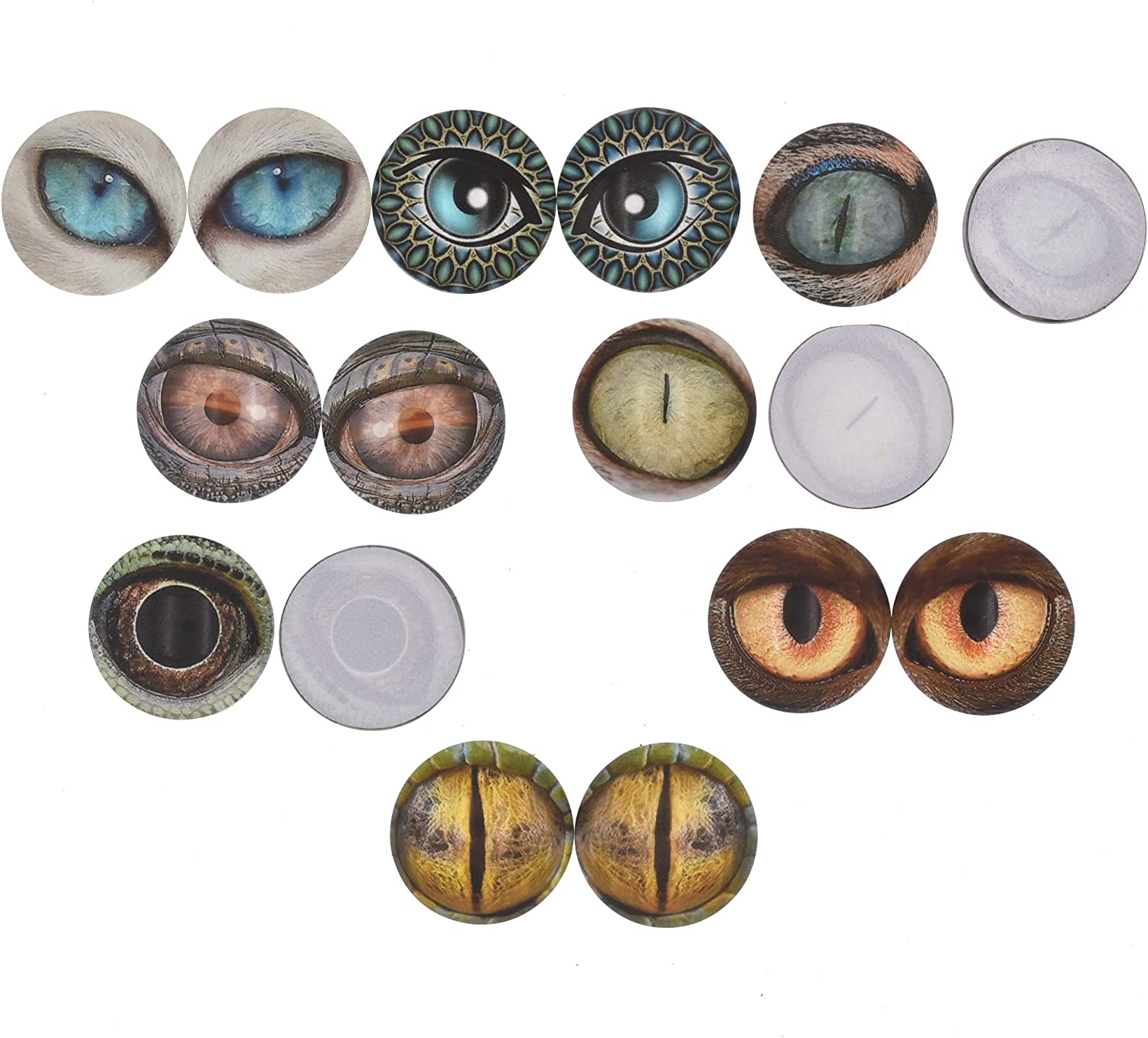 14mm Qeesio 10 Pairs 14mm Glow in the Dark Glass Animal Eyes Round Dome Glass Cabochons Flatback for DIY Craft Clay Eyes