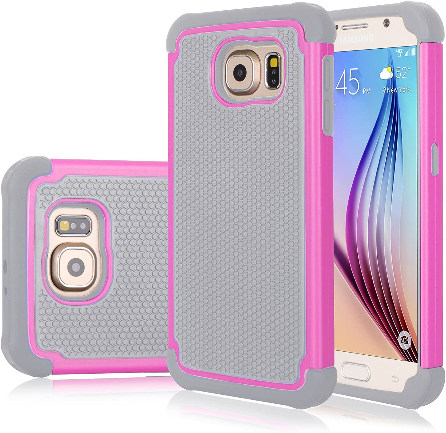 Galaxy S6 Edge Case, Jeylly(TM) [Shock Proof] Scratch Absorbing Hybrid Rubber Plastic Impact Defender Rugged Slim Hard Case Cover Shell for Samsung Galaxy S6 Edge S VI Edge G925 (Pink/Grey)