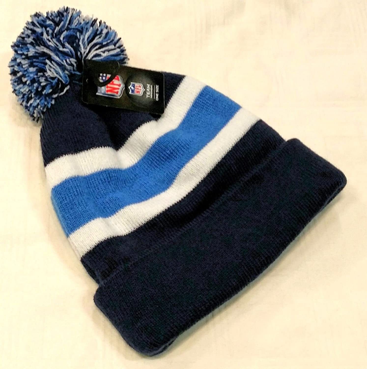 1818a2e1f Amazon.com : '47 San Diego Chargers Blue Cuff Breakaway Beanie Hat with Pom  - NFL Cuffed Winter Knit Toque Cap : Sports & Outdoors
