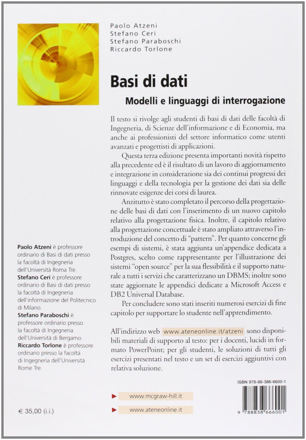 Dati e linguaggi basi interrogazione di modelli pdf di