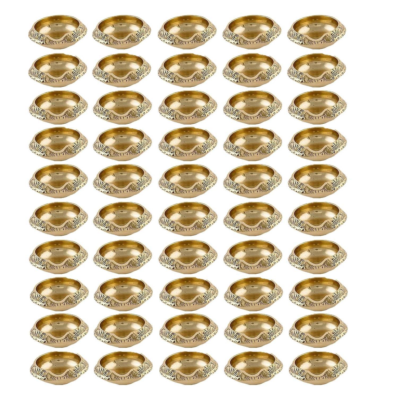 Parijat artigianato confezione da 50a mano indiano Puja in ottone dorato lampada a olio–Diya lampada incisa design diametro–6, 3cm PARIJAT HANDICRAFT BRASS-DIYA-63107