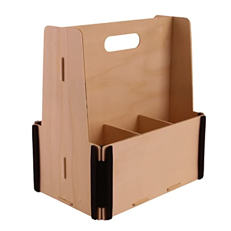 Pack de 3 Cajas de Cerveza para 6 botellas - Madera y plástico - Montaje manual tipo puzzle - Ideal para regalos