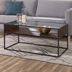 WE Furniture Industrial Modern Wood Rectangle Open Shelf Coffee Accent Table Living Room, 40 Inch, Walnut Brown