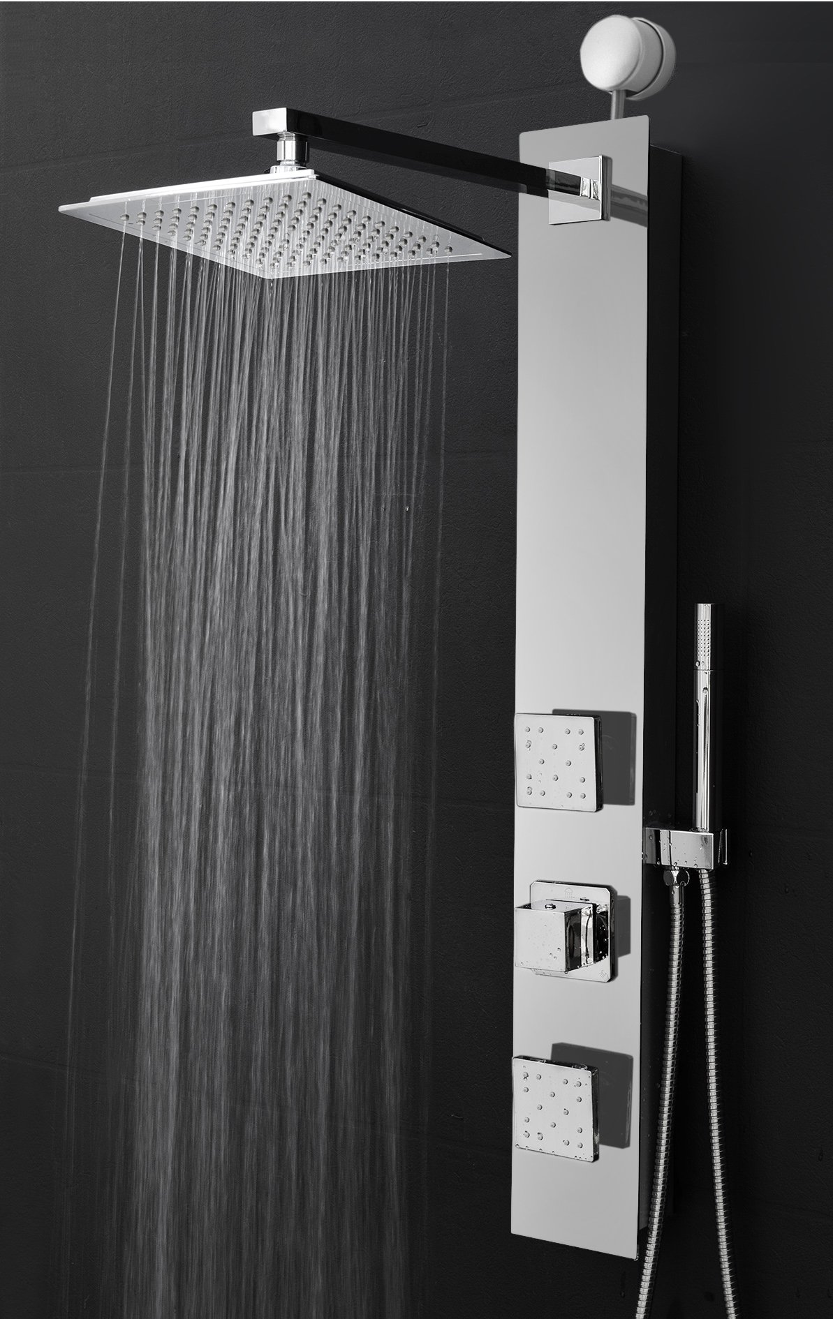 Perfetto Kitchen and Bath 35'' Easy Connect Wall Mount Tempered Glass Mirror Finish Made Rainfall Style Multi-Function Massage Shower Panel Tower System (SP0061)