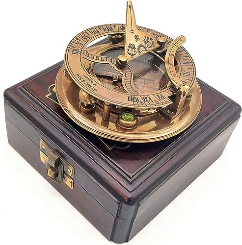 A S Handicrafts Brass Sundial Compa