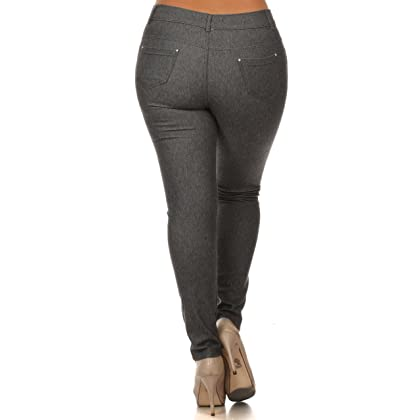 655bab09214e5 ... ICONOFLASH Women s Stretch Jeggings - Slimming Cotton Pull On Jean Like  Leggings With Plus Size Options ...