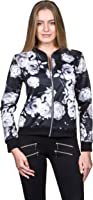 Blouson Damen Übergangsjacke mit Blumen Blüten Muster - Bomberjacke Floral Jacke Frauen Mädchen