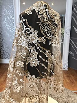 J3 208 Vestido de novia/boda floral bordado con lentejuelas, tela de encaje,