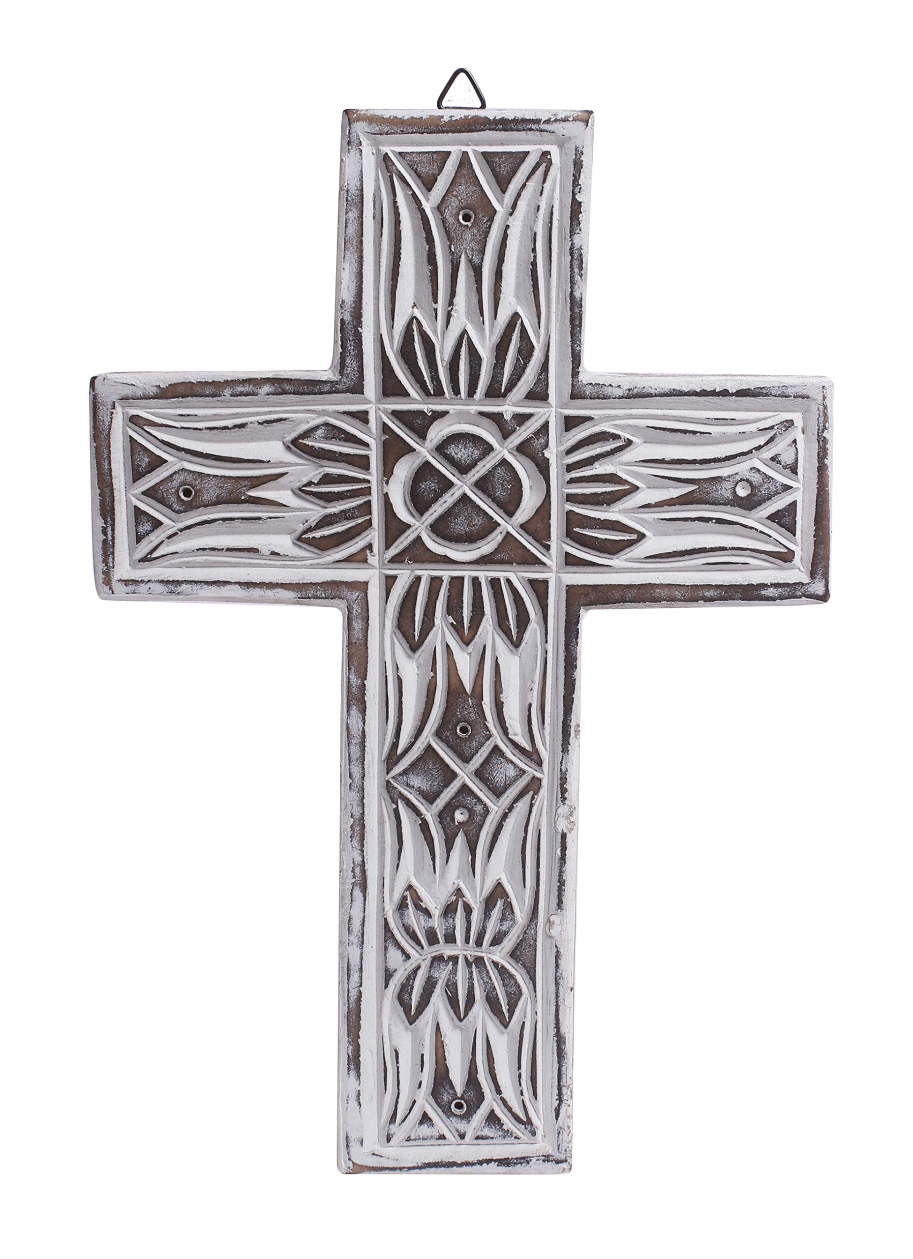 The StoreKing Wooden Wall Cross Plaque 15 Long Hanging with Hand Carvings Religious Altar Home Living Room Decor