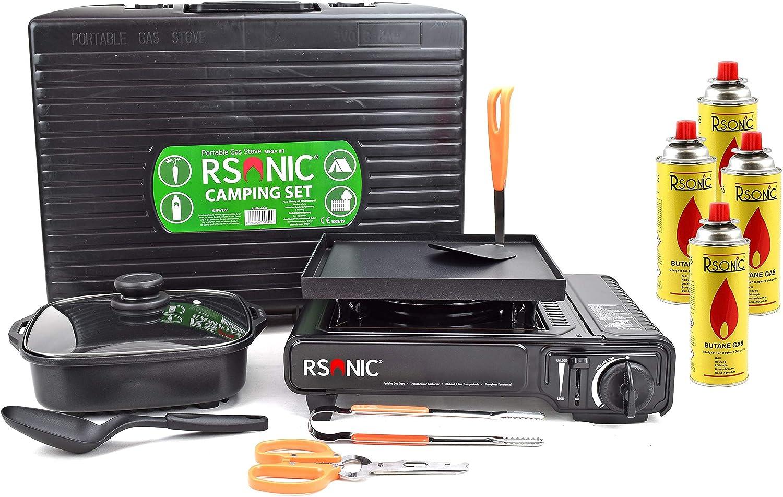 RSonic - TruWare Mega Set de cocina de gas para camping, parrilla + olla + utensilios de cocina (juego Mega + 4 cartuchos)
