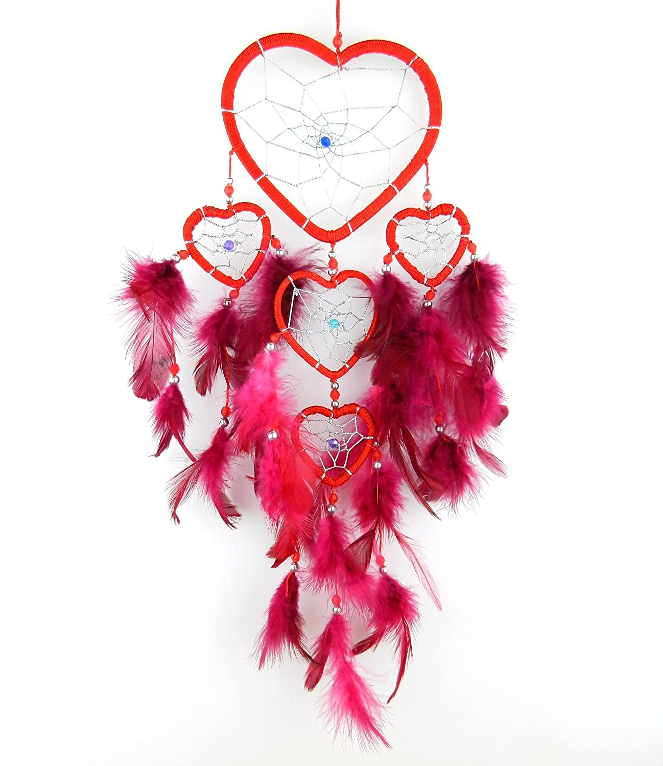 Bali unbranded DREAM CATCHER HEART silver centre dreamcatcher red, blue, pink Bali dream catcher unbranded