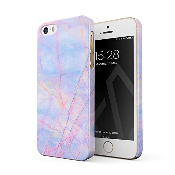 pretty nice 56e59 0adf2 BURGA Phone Case Compatible with iPhone 5 / 5s / SE, Cotton Candy Marble  Holographic Iridescent Colorful Unicorn Marble Thin Design Durable Hard ...