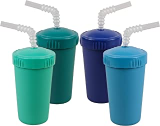 product image for Re-Play Made in USA 4pk Straw Cups with Bendable Straw in Aqua, Navy, Sky Blue and Teal | Made from Eco Friendly Heavyweight Recycled Milk Jugs - Virtually Indestructible (True Blue+)