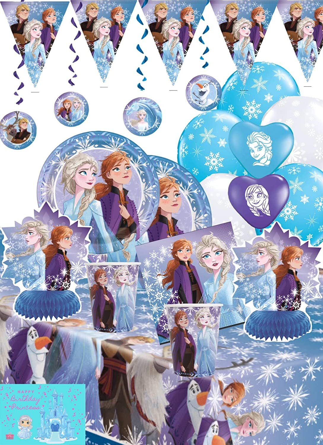 Frozen 2 Party Supplies and Decoration Kit - with Frozen Plates, Decor Kit, Banner, Balloons, Napkins, Table Cover, Cups and Birthday Card by JPMD (Serves 16)