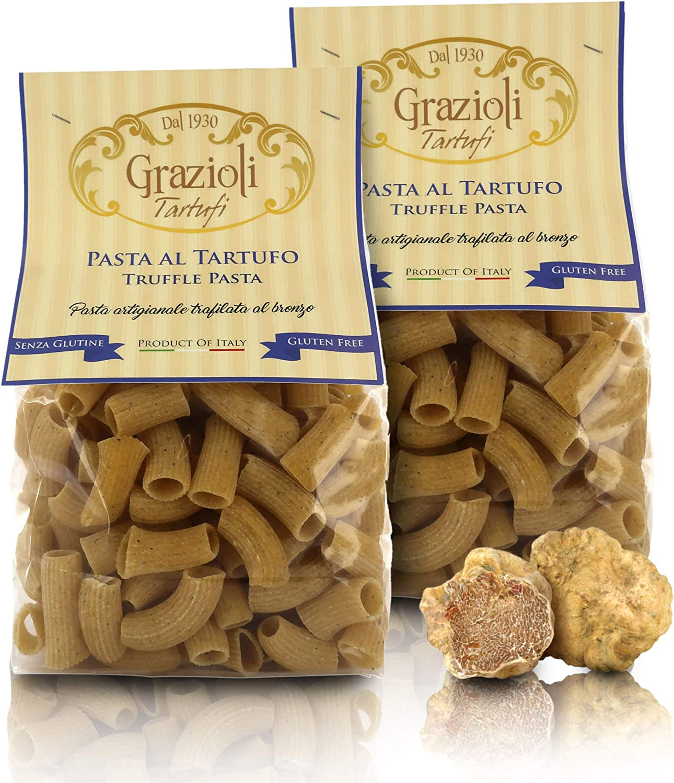 Grazioli Tartufi Truffle-Flavoured Pasta, Gluten-Free Macaroni with Summer Truffle, 250g / 8.81oz (Pack of 2 Pieces)