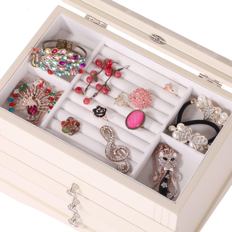 Rowling Large Wooden Jewelry Box Ring Organizer Gift Box Mg001 White