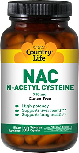 Country Life NAC 750mg N-Acetyl Cysteine High Potency Antioxidant Free-Radical Protection Immune System, Liver Lung Health Support – Non-GMO, Gluten-Free, Vegan Supplement – 60 Vegan Caps