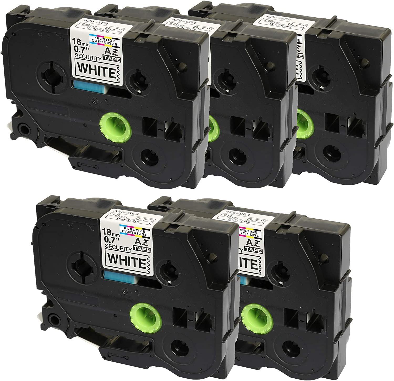 for Brother P-Touch Label Printers 18mm x 8m Cintas para impresoras de etiquetas 2 x Compatible TZ-SE4//TZe-SE4 Black on Confidential White Security Tapes