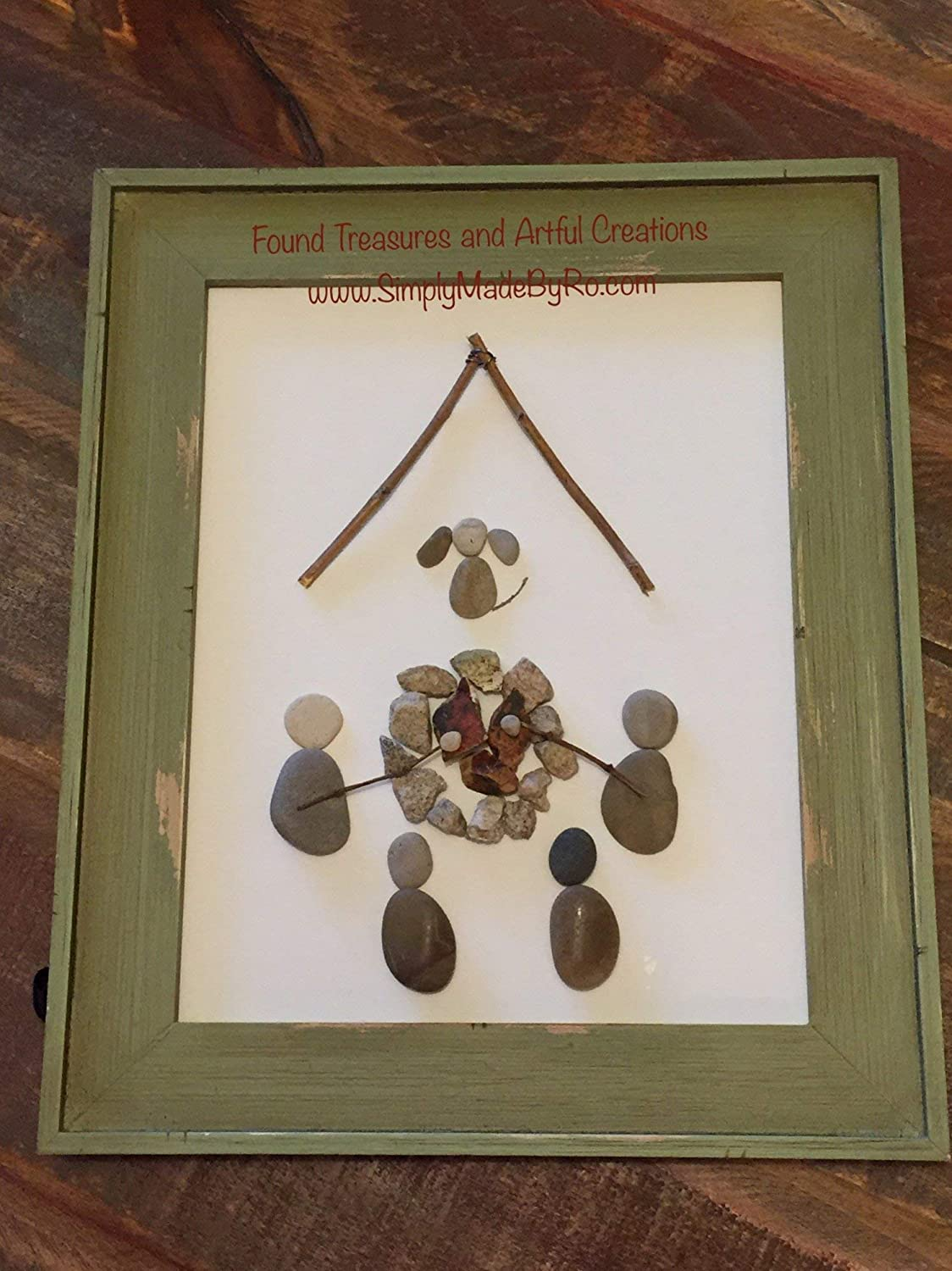 Around the Campfire pebble art, great gift for campers, outdoor lovers, nature lovers, tent