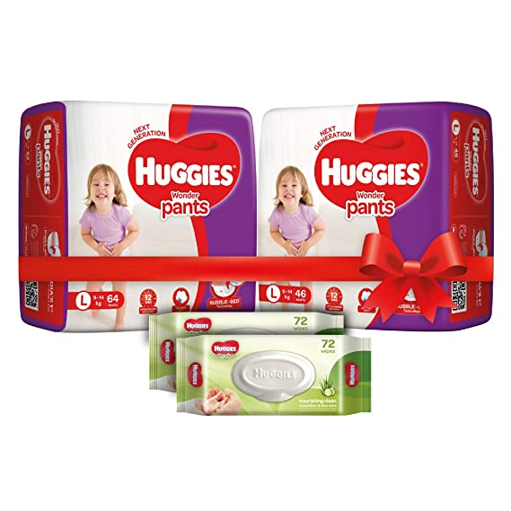 Huggies Wonder Pants Comfort Pack Large Size Diapers (110 Count) and Huggies Baby Wipes - Cucumber & Aloe Pack of 2 (144 Wipes)