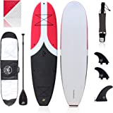 "Premium Beginner Soft-Top Paddle Board (10'4"") with 2 FCS Side Fins (Left & Right), fin Key, 9"" FCS SUP Fin with Plate and Sc"