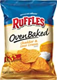 Ruffles Oven Baked Cheddar & Sour Cream Flavored Potato Crisps, 1.125 Ounce (Pack of 64)