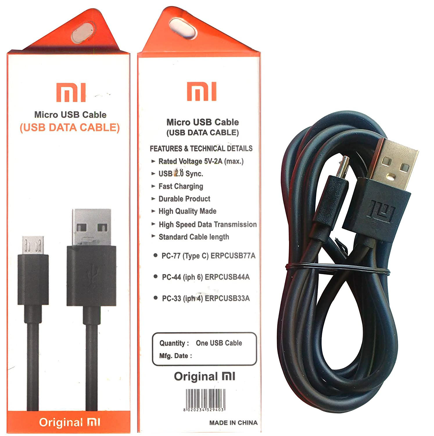 Ss Retail Charging Data Cable Usb For Xiomi Mi Xiaomi Kabel Original Micro Fast Redmi 4a Note 4 3s Prime 3 Max