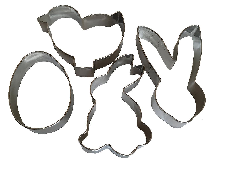 ROYAL HOUSEWARE Set di 4 tagliapasta in acciaio inox per biscotti pasquali a forma di coniglietto