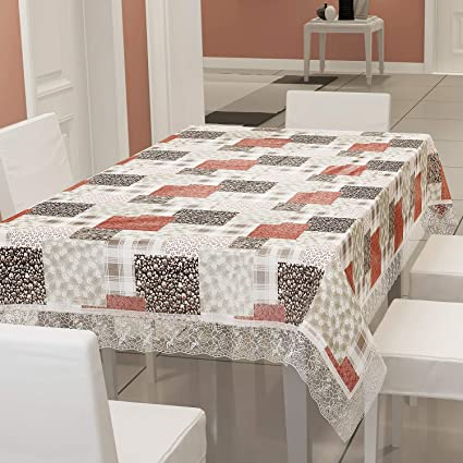 E-Retailer� Stylish Waterproof 6 Seater Dinning Table Cover with Leather Touch and White Lace (for Size 54x78 inches)