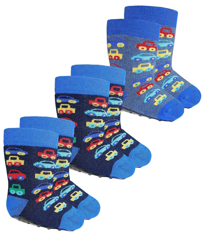 EveryKid Ewers 1er, 2er oder 3er Pack Jungenstoppersocken Stoppersocken ABS Socken Antirutsch schadstofffrei Kleinkind mit Automotiv für Kinder (EW-221041-W17-JU3) inkl Fashionguide