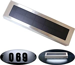 Solar Lights Outdoor for House Numbers - Outdoor Stainless Steel 60 Lumens Solar Light for Address Sign Plate - Wall Light for Home,Garden and Yard