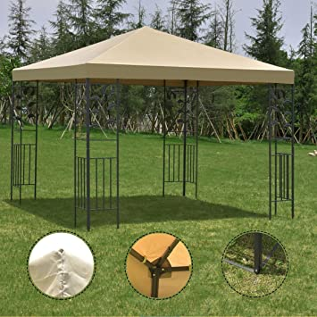 Outdoor 10u0027x10u0027 Square Gazebo Canopy Tent , Steel Frame Shelter Awning Brown