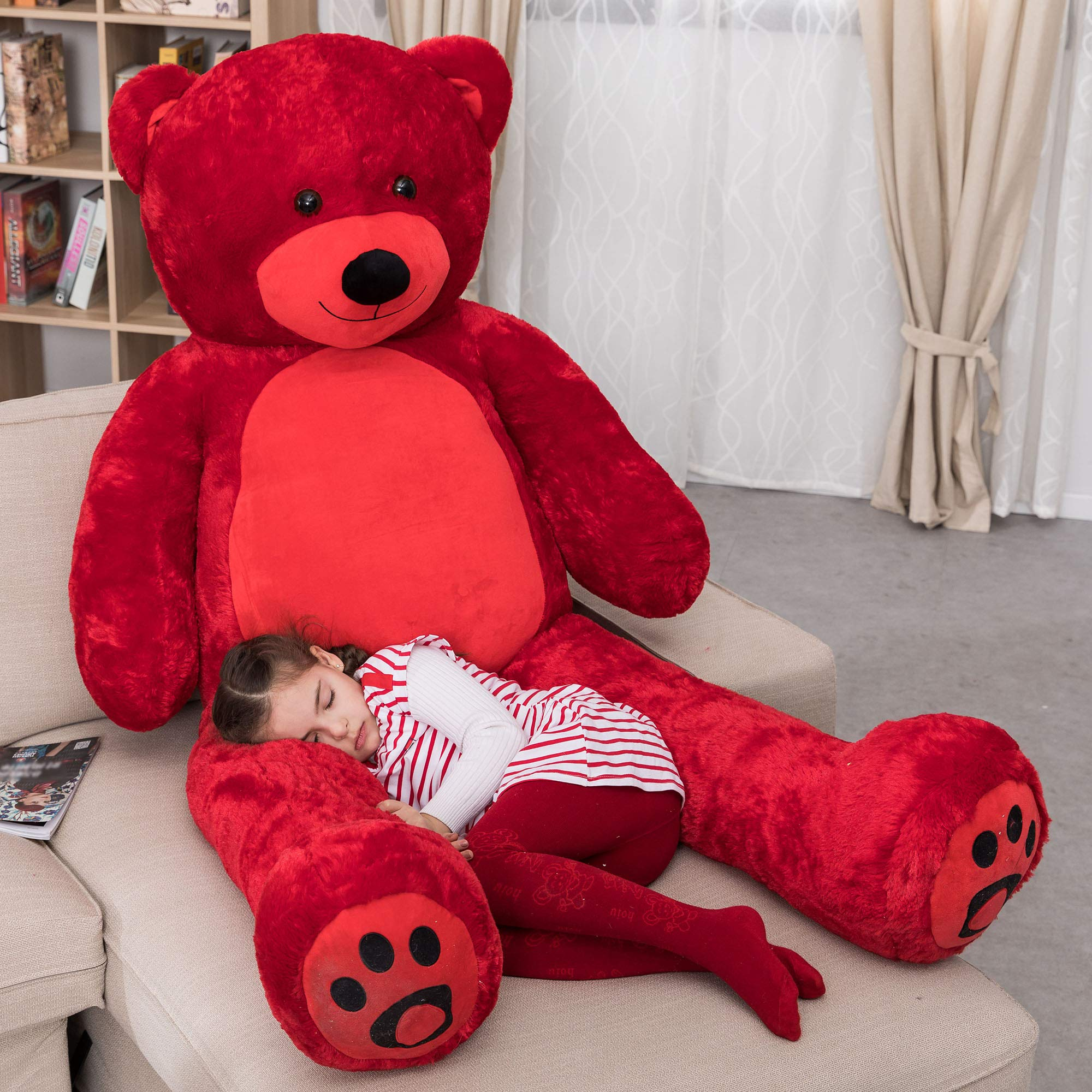 WOWMAX 6 Foot Giant Huge Life Size Teddy Bear Daney Cuddly Stuffed Plush Animals Teddy Bear Toy Doll for Birthday Christmas Red 72 Inches by WOWMAX
